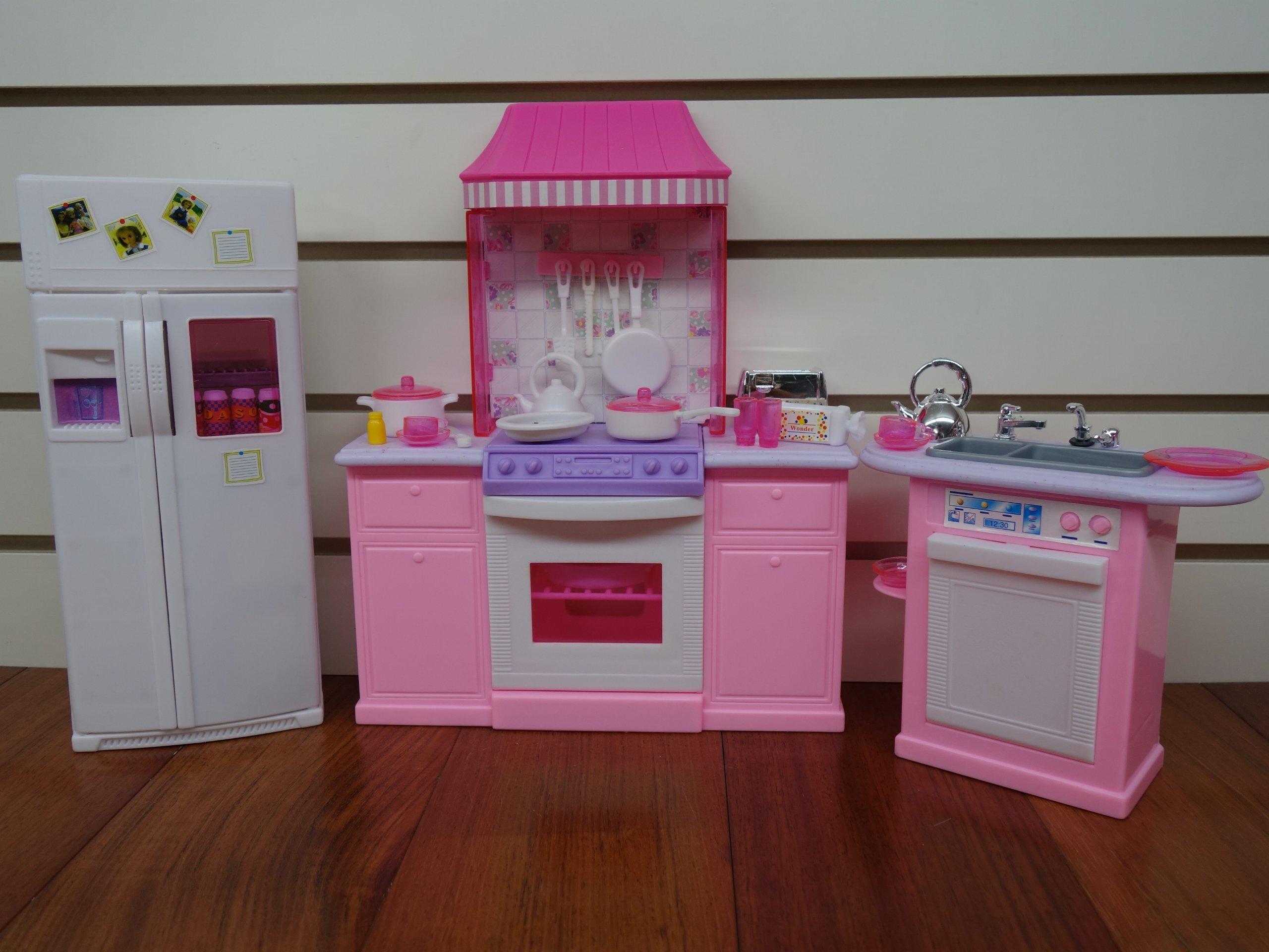 barbie size dollhouse furniture kitchen set ebay. Black Bedroom Furniture Sets. Home Design Ideas
