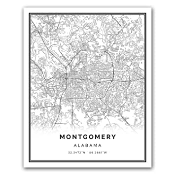 Squareious montgomery map poster print modern black and white wall art scandinavian home decor