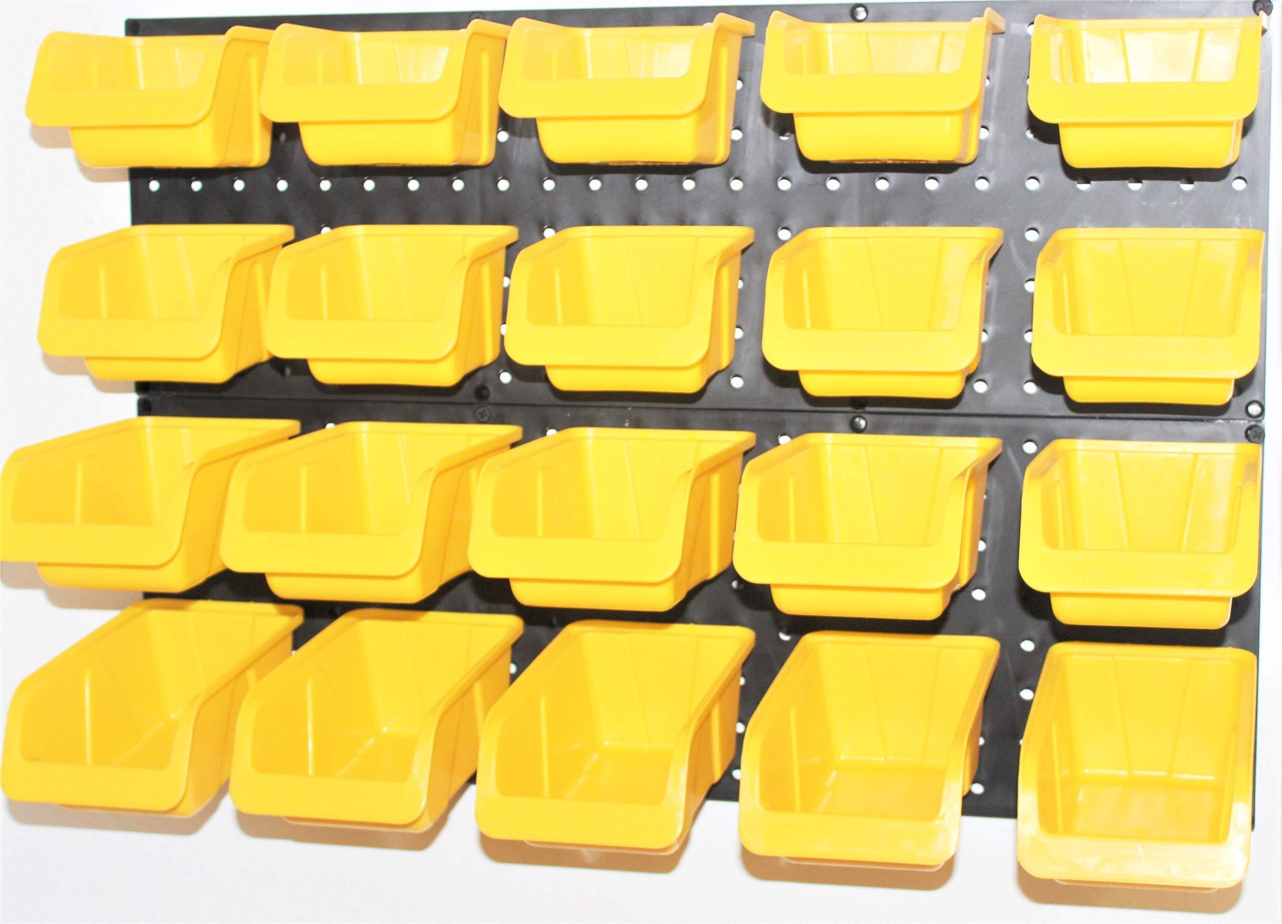 WallPeg Tool Organizer – Plastic Pegboard Yellow Bins 20 ea. # AM 20Y