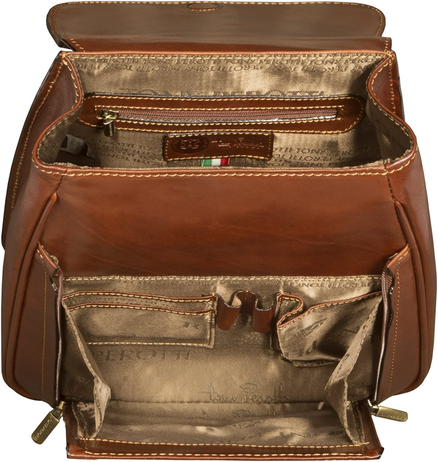 Tony Perotti Italian Leather Flap-over Compact Backpack