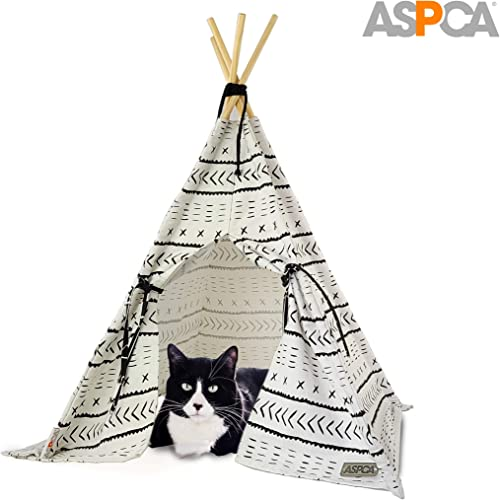 ASPCA Mudcloth Pet Tent Wigwam for Cats Dogs, 29 x 22.5 , Teepee White House
