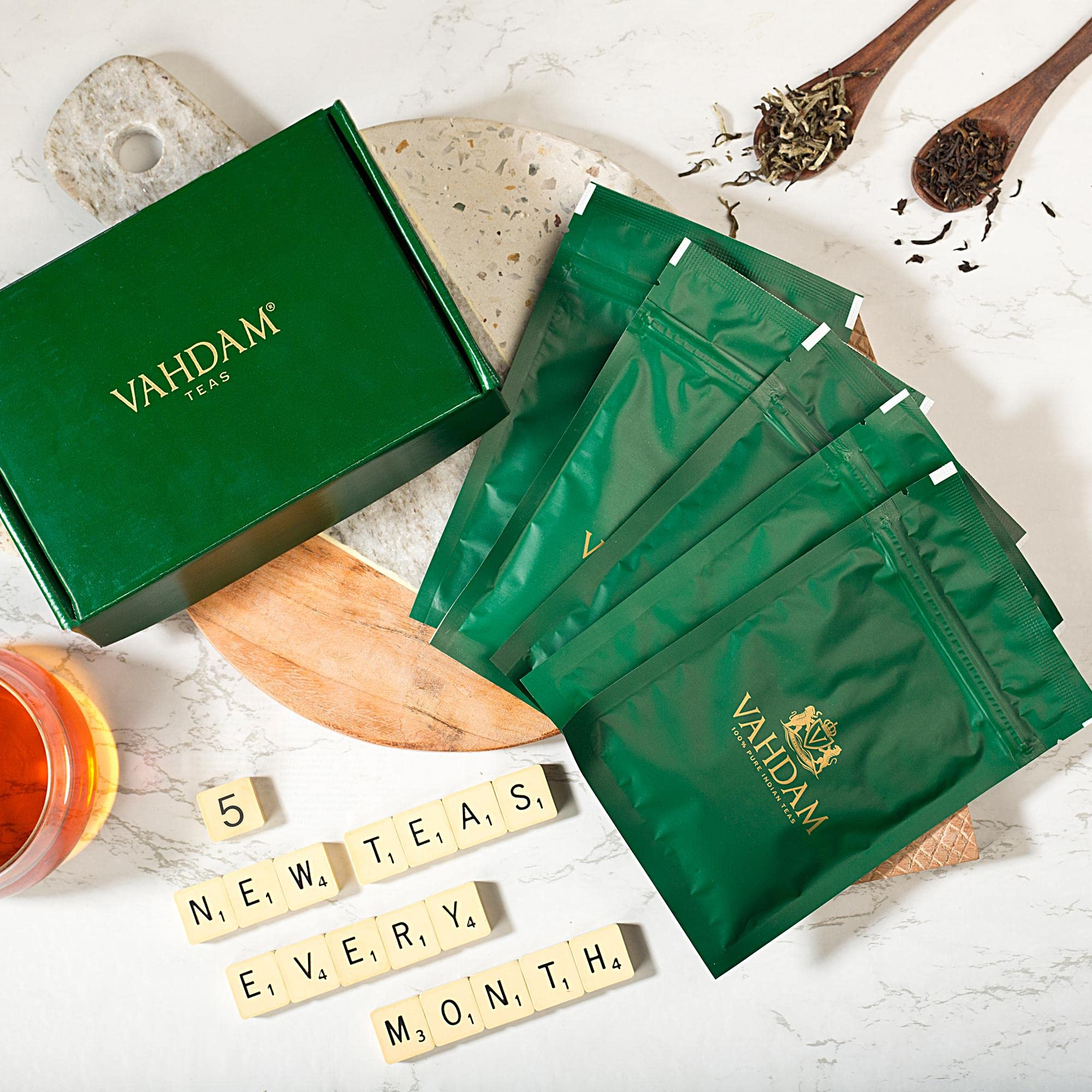 Vahdam, Loose Leaf Tea Variety Subscription Box - 5 Teas, 35+ Servings - 100% Natural Teas, Hand-picked from India's Choicest Tea Estates