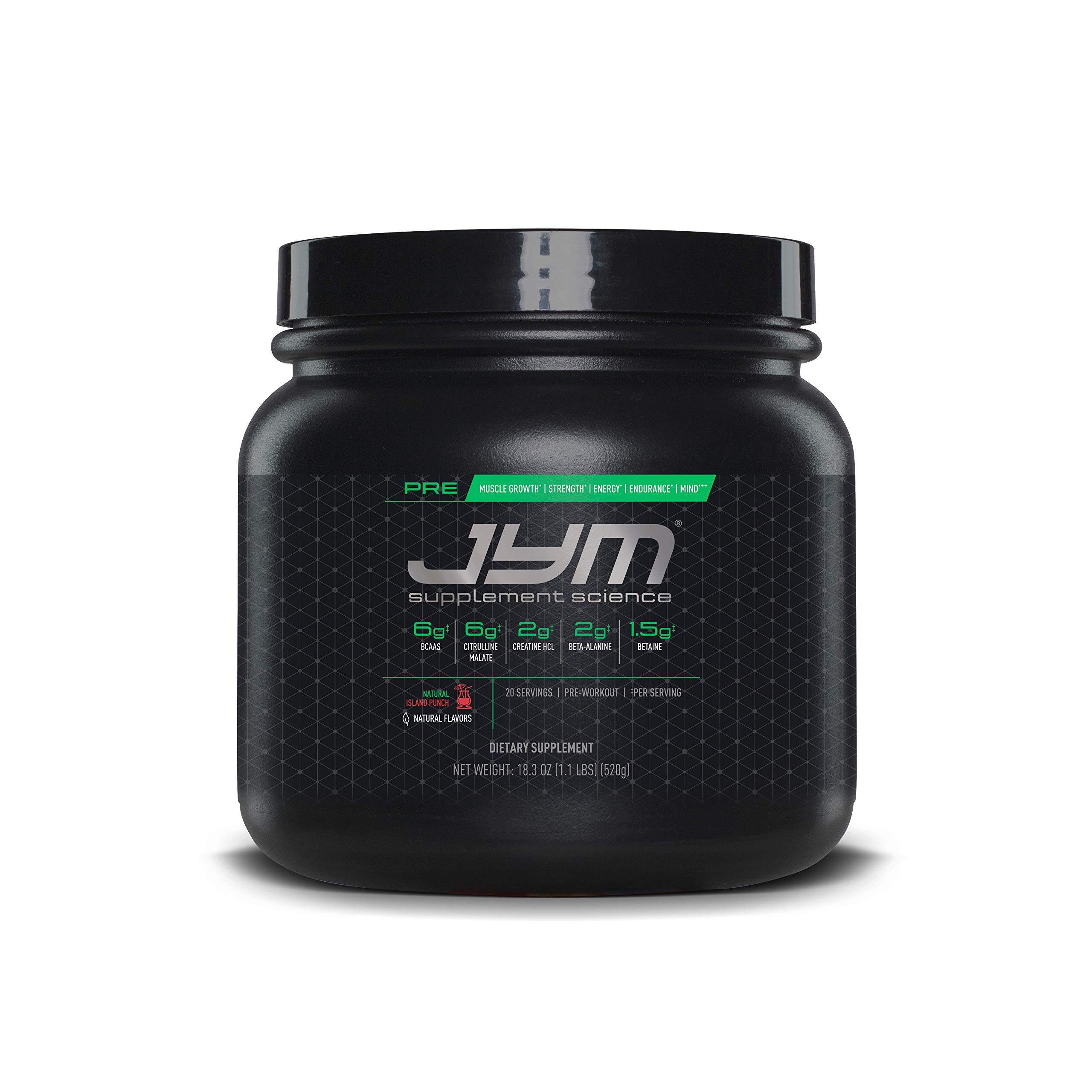 JYM Supplement Science, PRE JYM, Natural Island Punch, Pre-Workout with BCAA's, Creatine HCl, Citrulline Malate, Beta-alanine, Betaine, Alpha-GPC, Beet Root Extract and more, 20 Servings by JYM Supplement Science