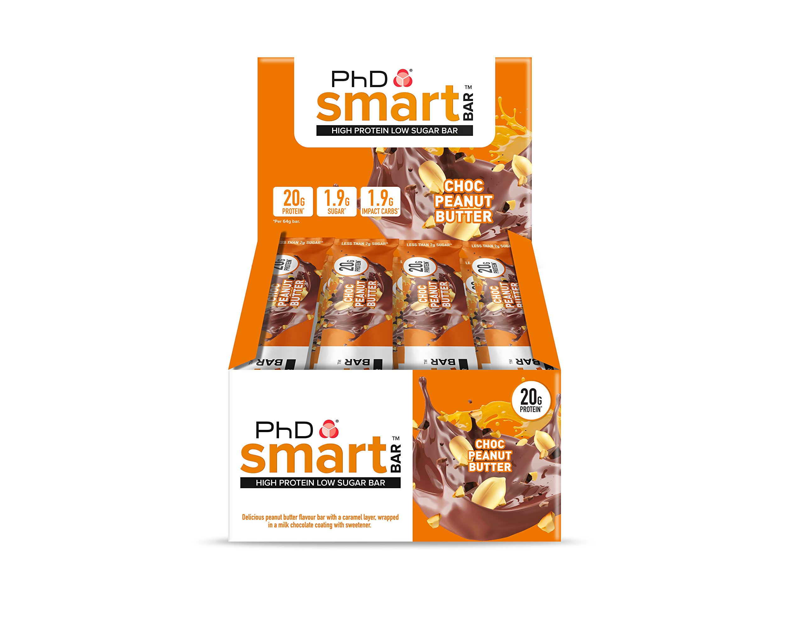 PhD Smart Bar-High Protein Low Sugar Bar, Chocolate Peanut Butter, 64 g, Pack of 12 product image