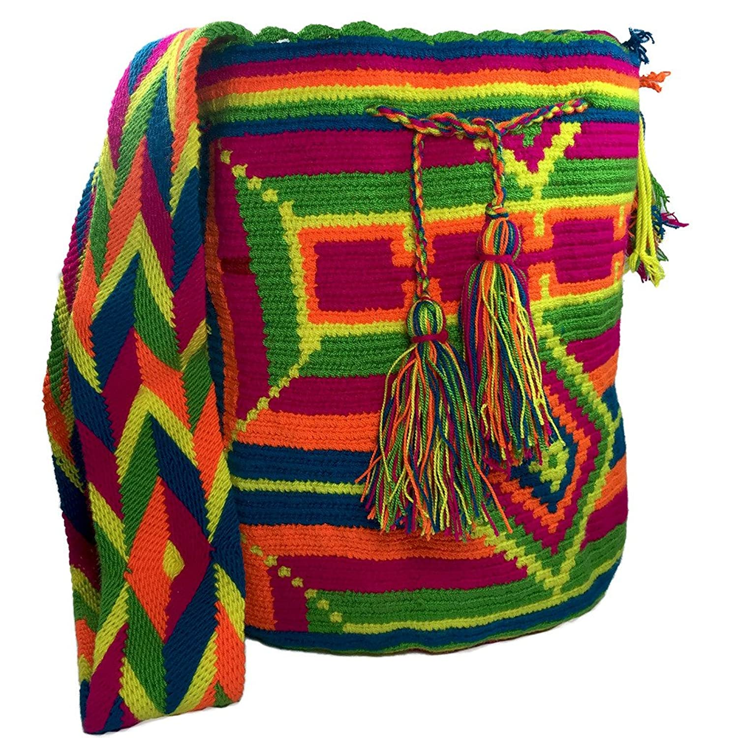 Mochila Wayuu Bag 100% Ethnic Hand Woven Go-anywhere Large Tote Hand Made Bag -Multicolor
