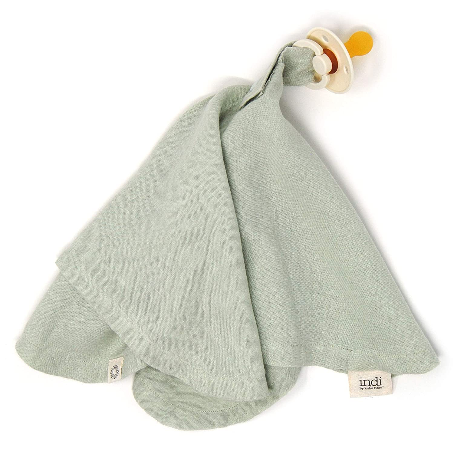Indi by Kishu Baby - Organic Muslin Baby Blanket with Paci Holder - 100% Organic Cotton Muslin Mini Baby Blanket with Snap to Secure Baby Pacifier - Pacifier Not Included (Sage)