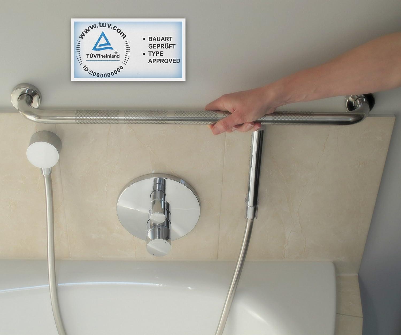 DUSCHGRIFF EDELSTAHL ANTIRUTSCH Senioren Badewannengriff Wandgriff chrom 61 cm stabil zum Bohren Haltegriff Handgriff extra griffig