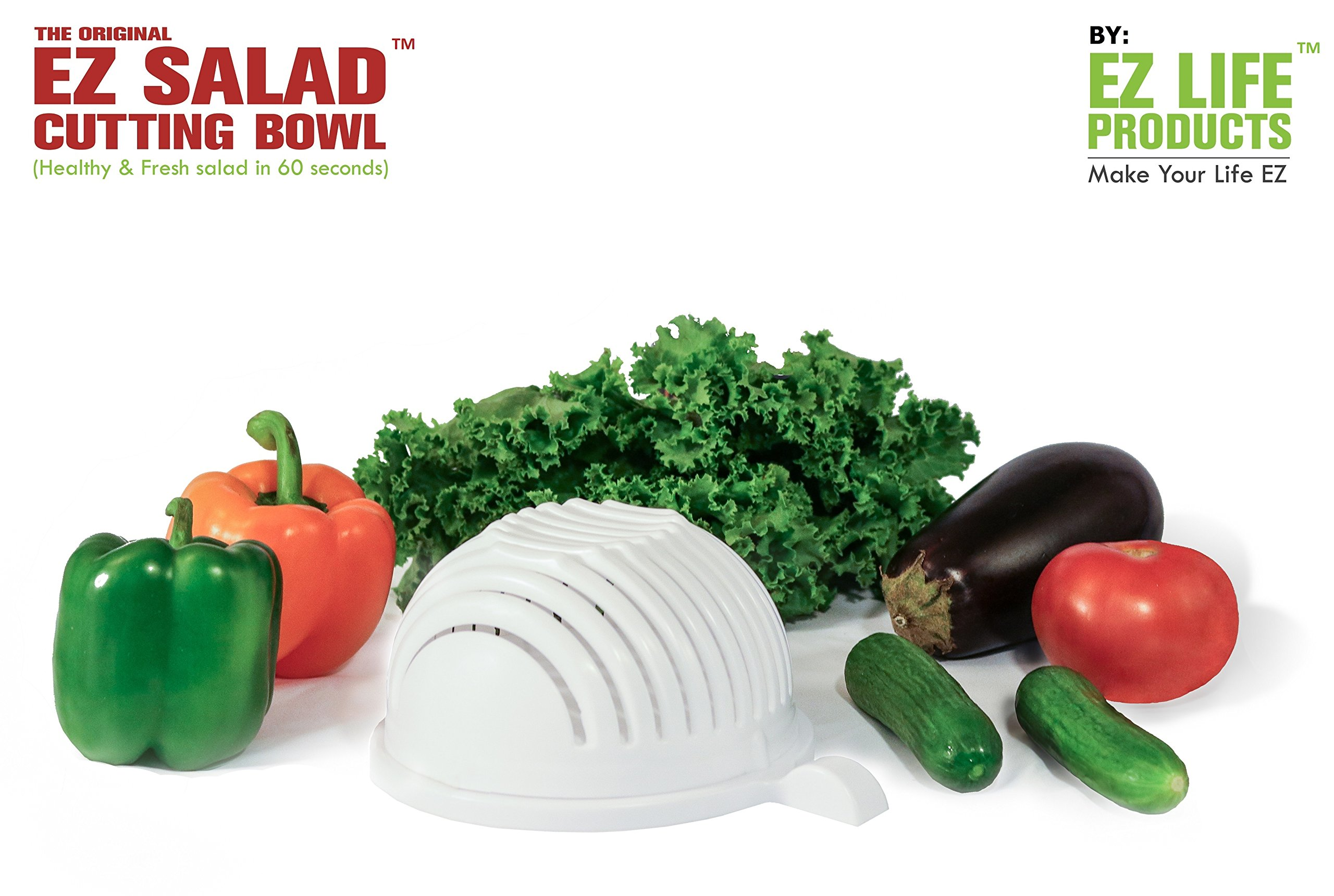 The Original EZ SALAD CUTTING BOWL | Fast cutting of vegetables, fruits, chicken & cheese | No cutting board needed | Use as a strainer | salad chopper & salad cutter bowl by EZ LIFE PRODUCTS ™ by EZ LIFE PRODUCTS (Image #1)