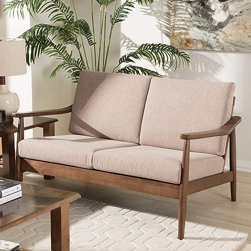 "Baxton Studio Venza Mid-Century Modern Walnut Wood Light Brown Fabric Upholstered 2-Seater Loveseat Mid-Century/Light Brown/Walnut Brown/Fabric Polyester 100 ""/Rubber Wood/"