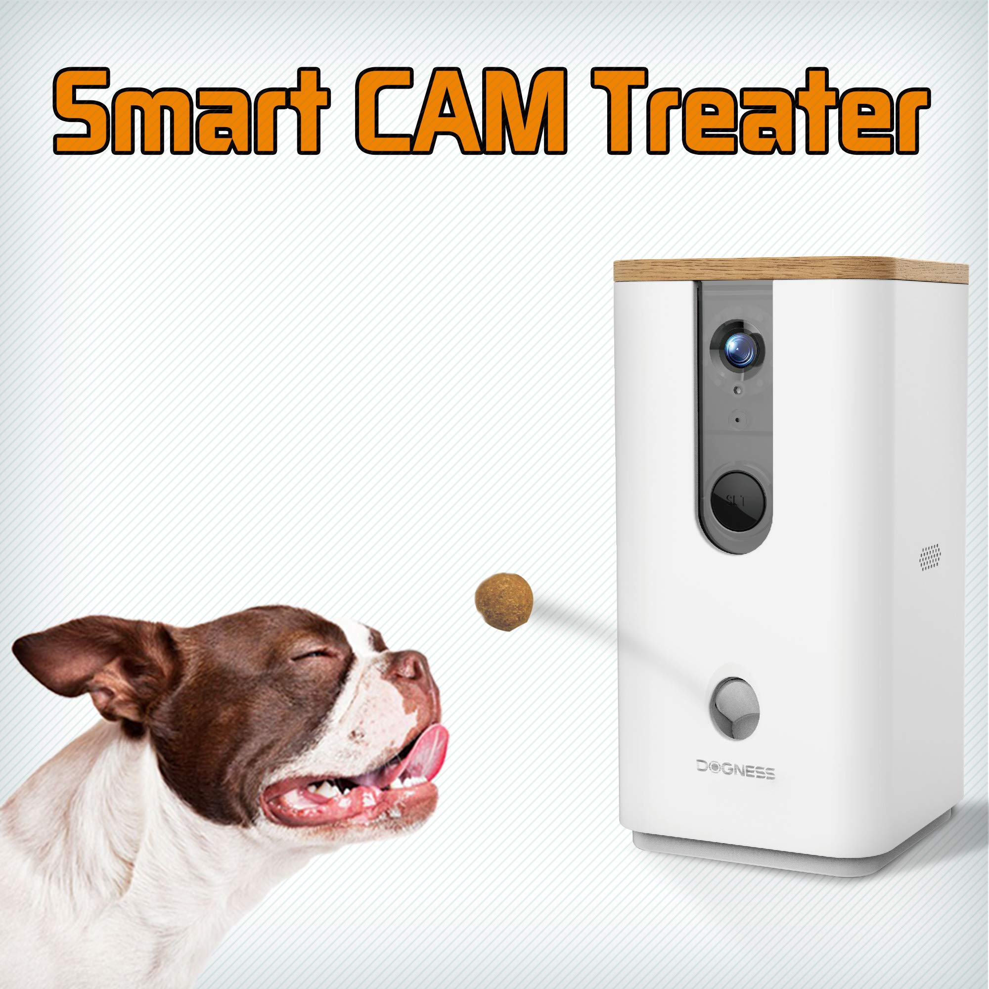 DOGNESS Pet Treat Dispenser with Camera, Monitor Your Pet Remotely with HD Video, Two-Way Audio, Night Vision, for Dogs and Cats - White by DOGNESS