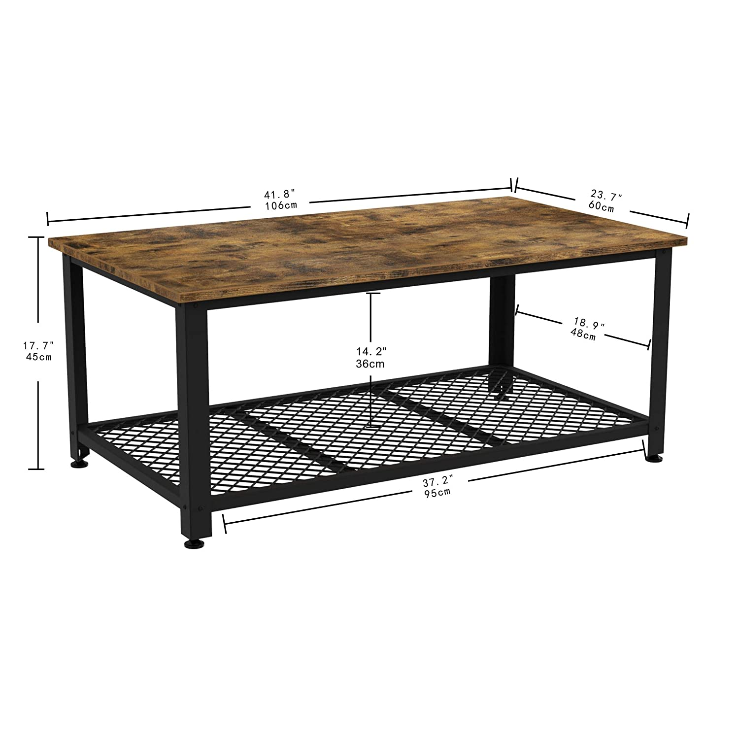 Rustic Home Decor IRONCK Industrial Coffee Table for Living Room Wood Look Accent Furniture with Metal Frame Tea Table with Storage Shelf Easy Assembly