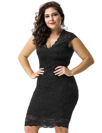 ohyeahlady Women Deep V Lace Pencil Bodycon Evening Dresses Plus Size