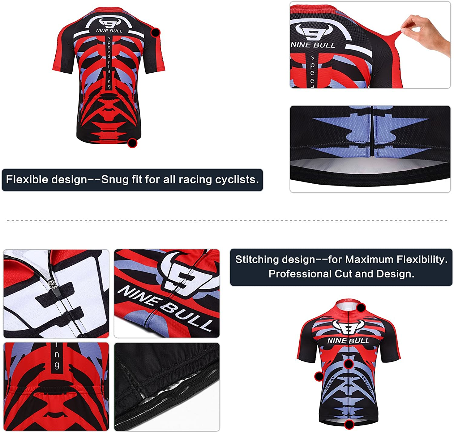 nine bull Mens Cycling Jersey Set Reflective Quick-Dry Biking Shirt and 3D Padded Cycling Bike Shorts