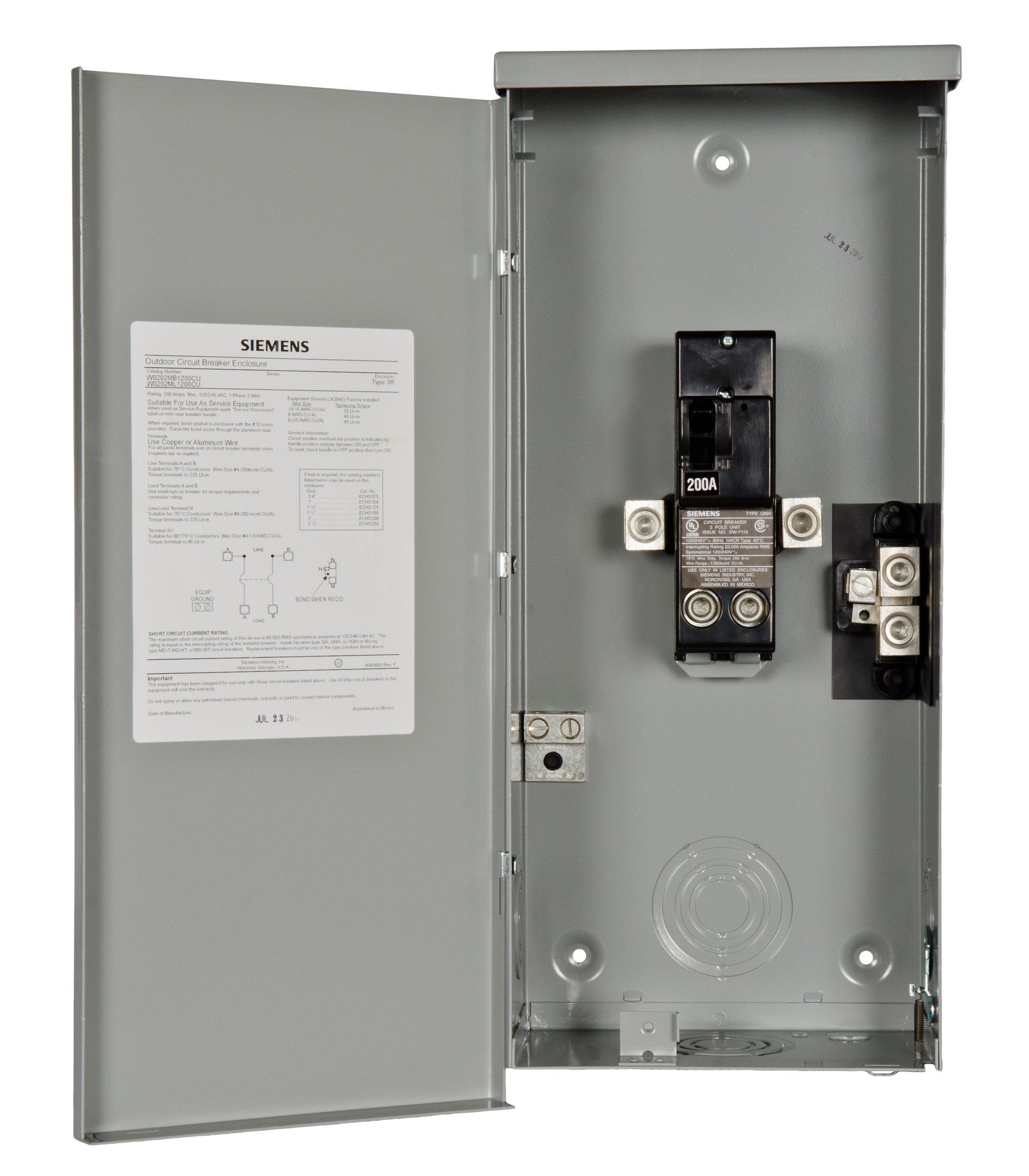 Siemens W0202mb1200cu 200 Amp Outdoor Circuit Breaker Enclosure Troubleshooting Electrical Circuits 129 00