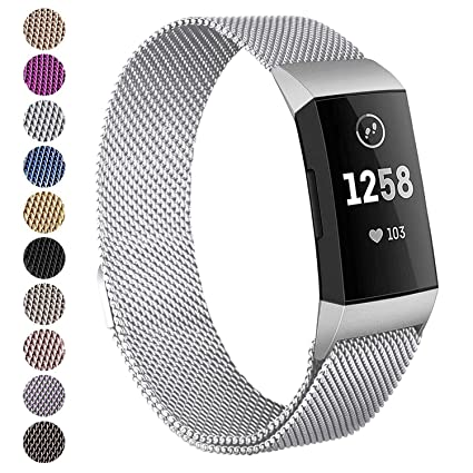 Hotodeal Metal Band Compatible for Fitbit Charge 3 and Charge 3 SE,  Stainless Steel Replacement Bands Milanese Loop Band with Magnet Lock for  Women