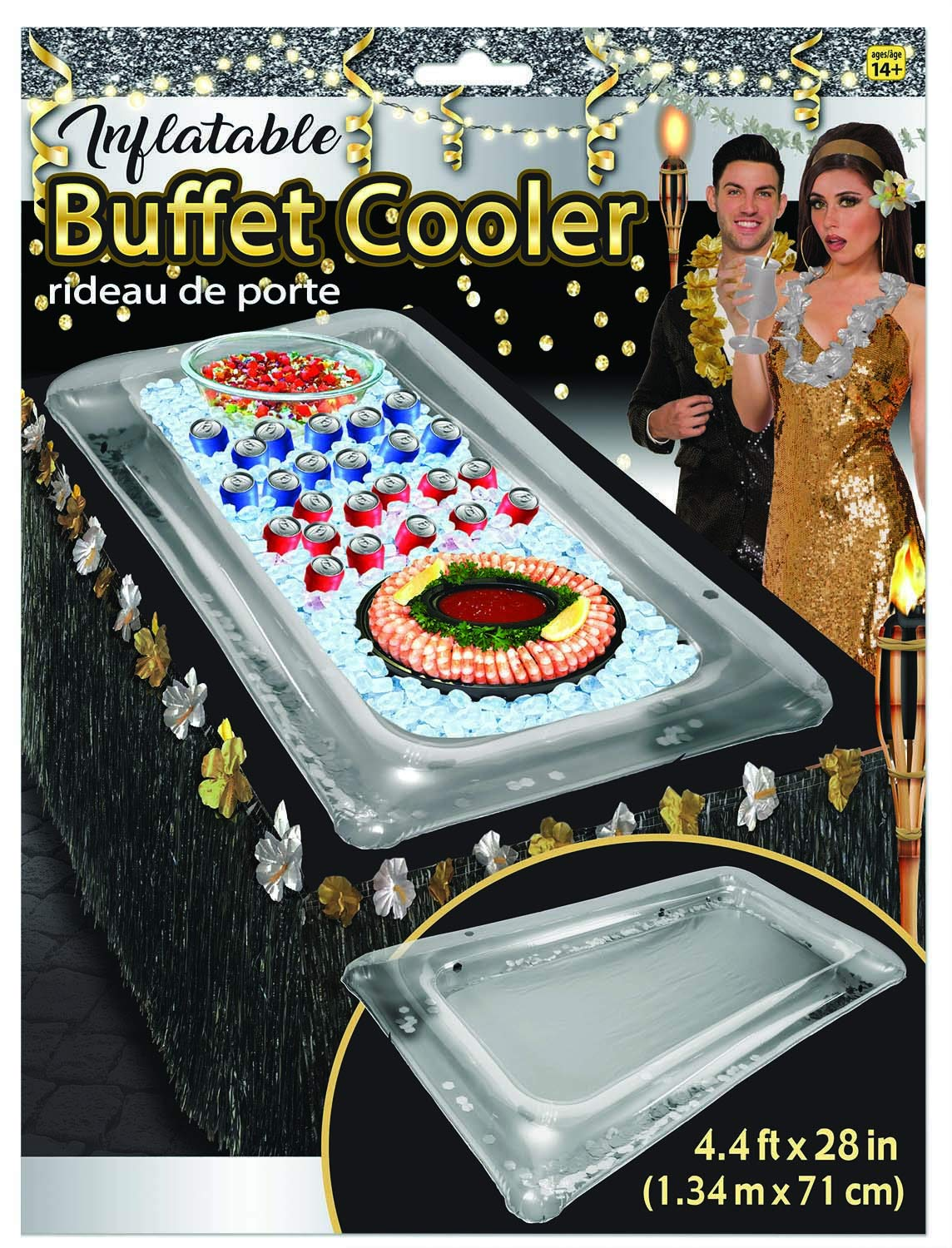 Luxury Inflatable Serving Bar Salad Ice Tray Food Container Buffet Cooler Party Supplies BBQ Picnic Summer Pool Party Outdoor Supplies, 53''x28'' (Silver Base Clear Top with Silver Flakes) by Luxury Inflatable Buffets