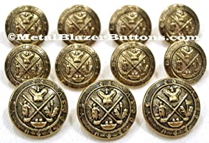 NEW Premium ANTIQUE BRASS ~GOLF KING'S CREST~ METAL BLAZER BUTTON SET ~ 11-Piece Set of Shank Style Fashion Buttons For Single Breasted Blazers, Sport Coats, Suit Jackets & Uniforms ~ METALBLAZERBUTTONS.COM