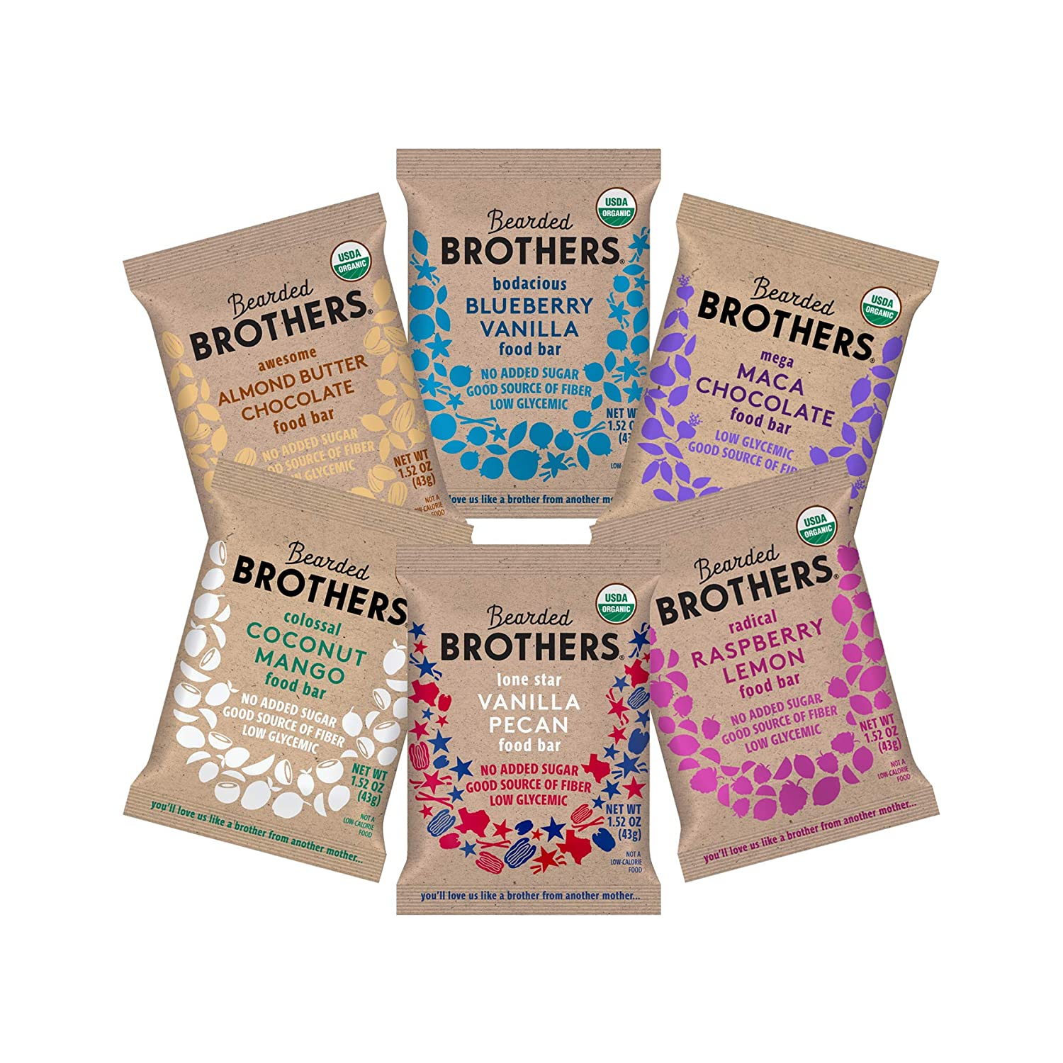 Bearded Brothers Vegan Organic Energy Bar   Gluten Free, Paleo and Whole 30   Soy Free, Non GMO, Low Glycemic, Packed with Protein, Fiber + Whole Foods   6 Flavor Variety Pack   12 Pack