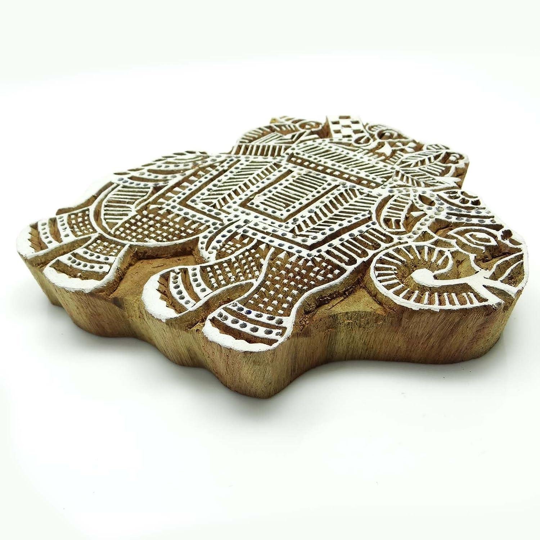 /Él/éphant Indien en Bois Stamp Main d/écoratif sculpt/é Blocs dimpression