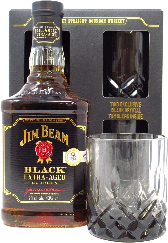 Jim Beam - Black Extra-Aged 2 x Black Crystal Glasses Gift Pack ...