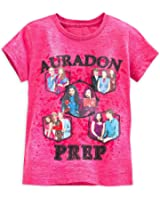 "Disney Store Descendants ""Auradon Prep"" Short Sleeve T-Shirt Tee for Girls"