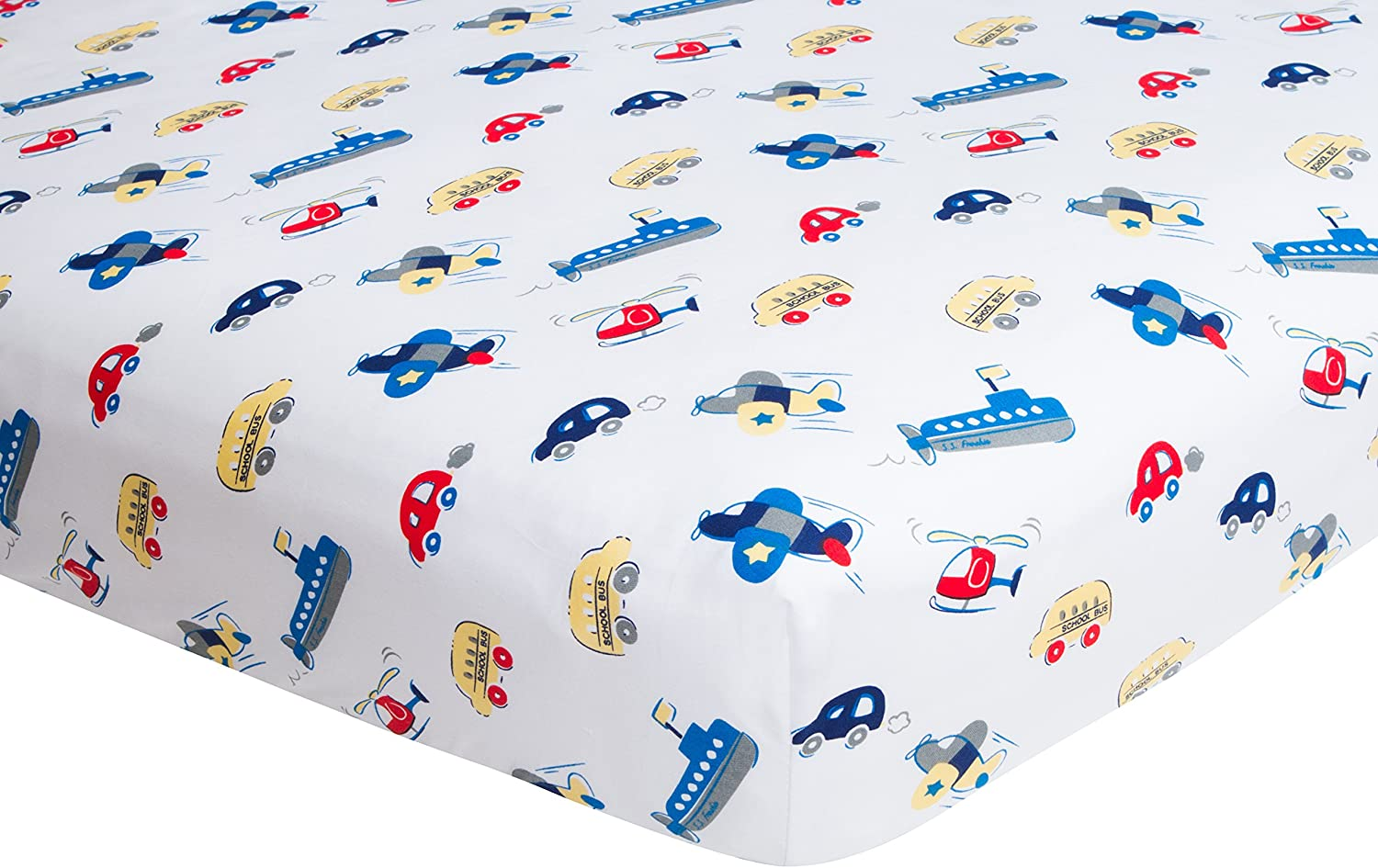 Amazon Com Frenchie Mini Couture Fitted Crib Sheet Boy Fits Toddler Mattress 100 Woven Cotton Twill 200 Thread Count Planes Cars And Boats Kitchen Dining