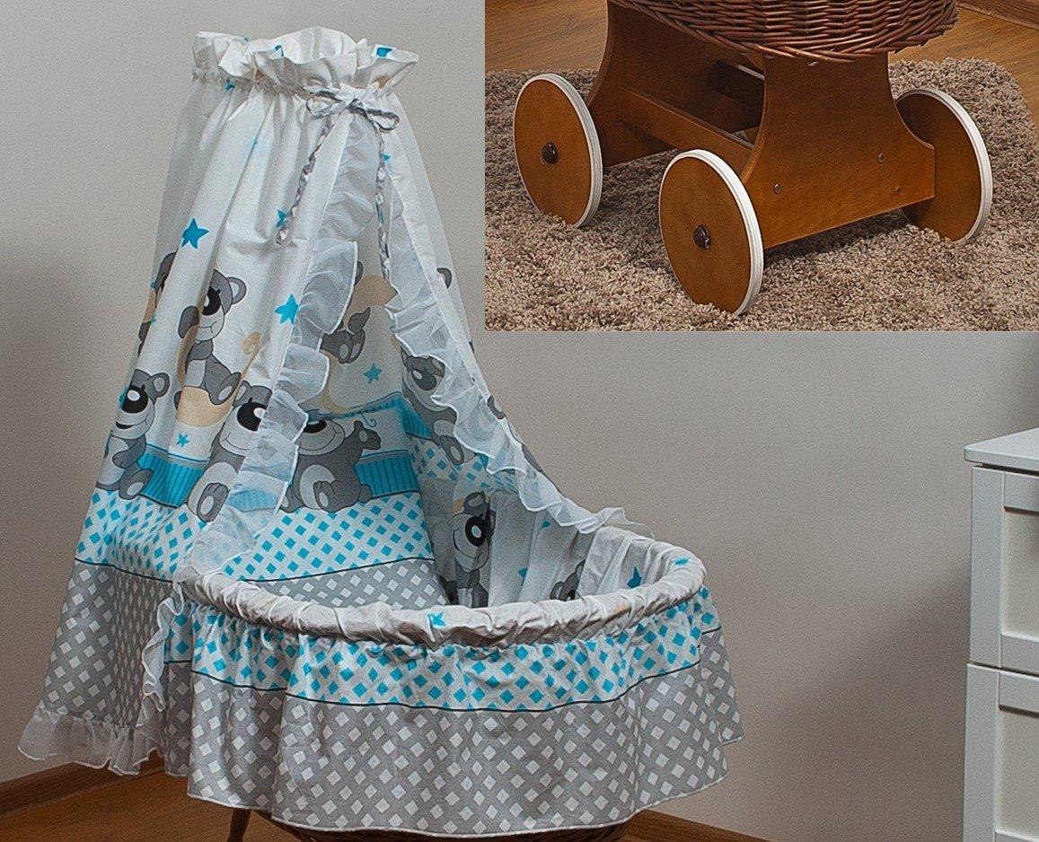 Stubenwagen babywiege babybett rattan große leise räder in