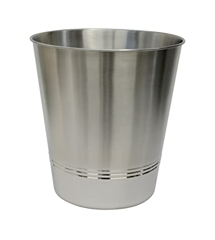 BathSense CGM1291 Shiny Metal Bathroom Wastebasket U0026 Trash Can Refuse  Disposal Bin, Aurora