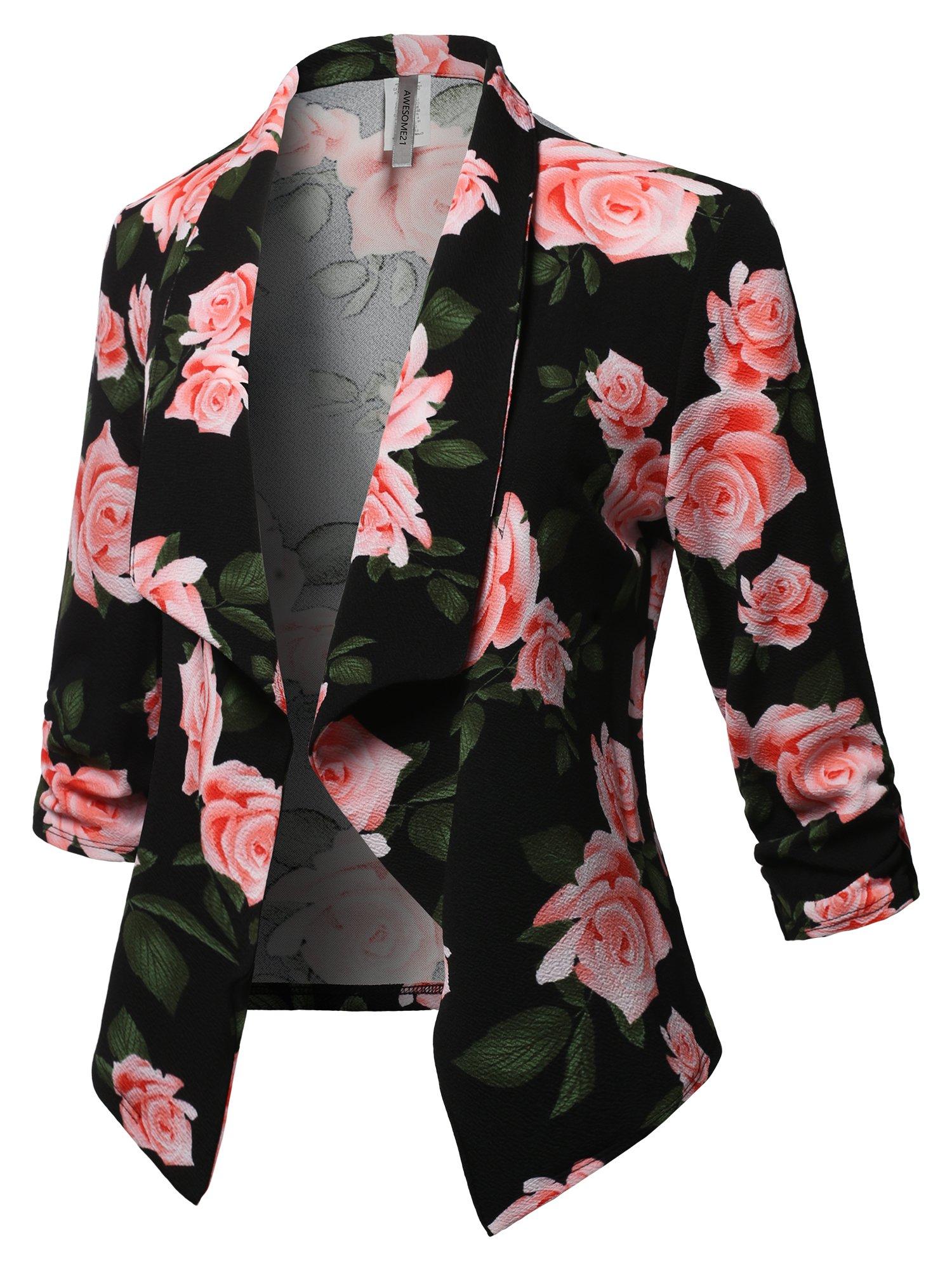 Awesome21 Stretch 3/4 Gathered Sleeve Open Blazer Jacket Black Peach Size S