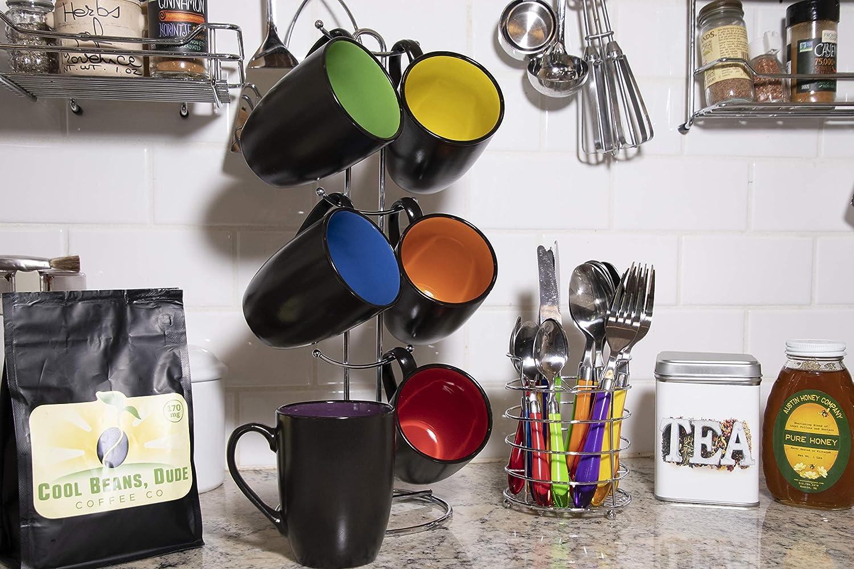 Rainbow Multicolor Hand Glazed Ceramic Stoneware Americano Stacking Coffee Mug Set With Metal Stand Gypsy Color 8 Oz