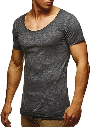 1f494f2cfd74 LEIF NELSON Herren T-Shirt Basic Rundhals Kurzarm Oversize Shirt Verwaschen  LN6353  Amazon.de  Bekleidung