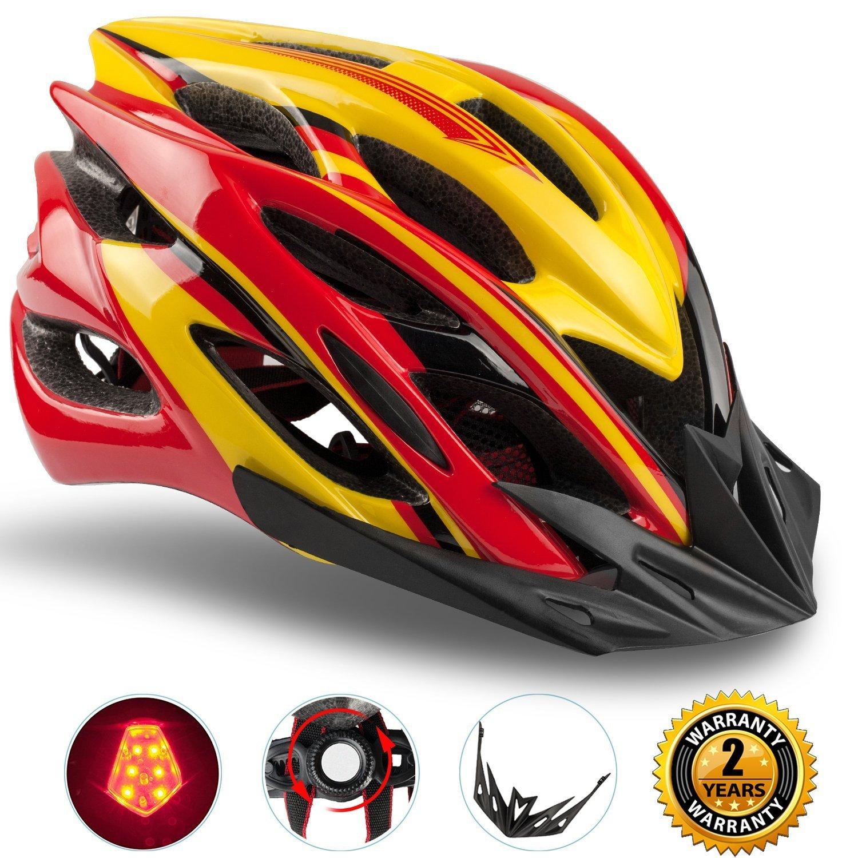 Shinmax Casco de Bicicleta con Luz LED,Certificado CE,Casco de Ciclismo con Visera y Forro Desmontable Especializado con Luz de Seguridad Super Light Casco ...