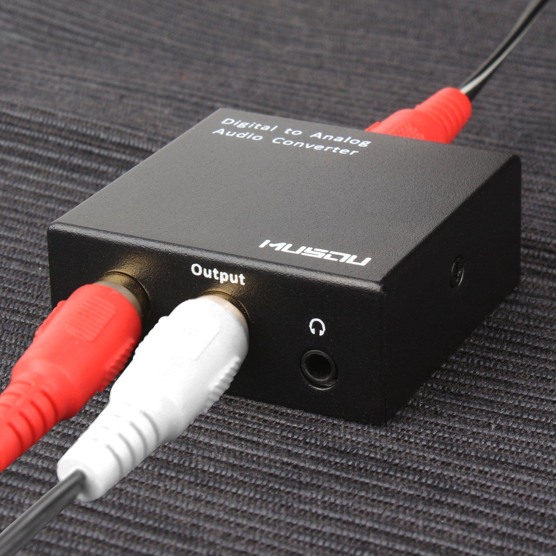Musou DAC de Audio Convertidor de Digital a Analógico con Cable Coaxial/Óptica a RCA Toslink y SPDIF L/ R Transformador de HDMI Audio para PS3 4 Xbox ...