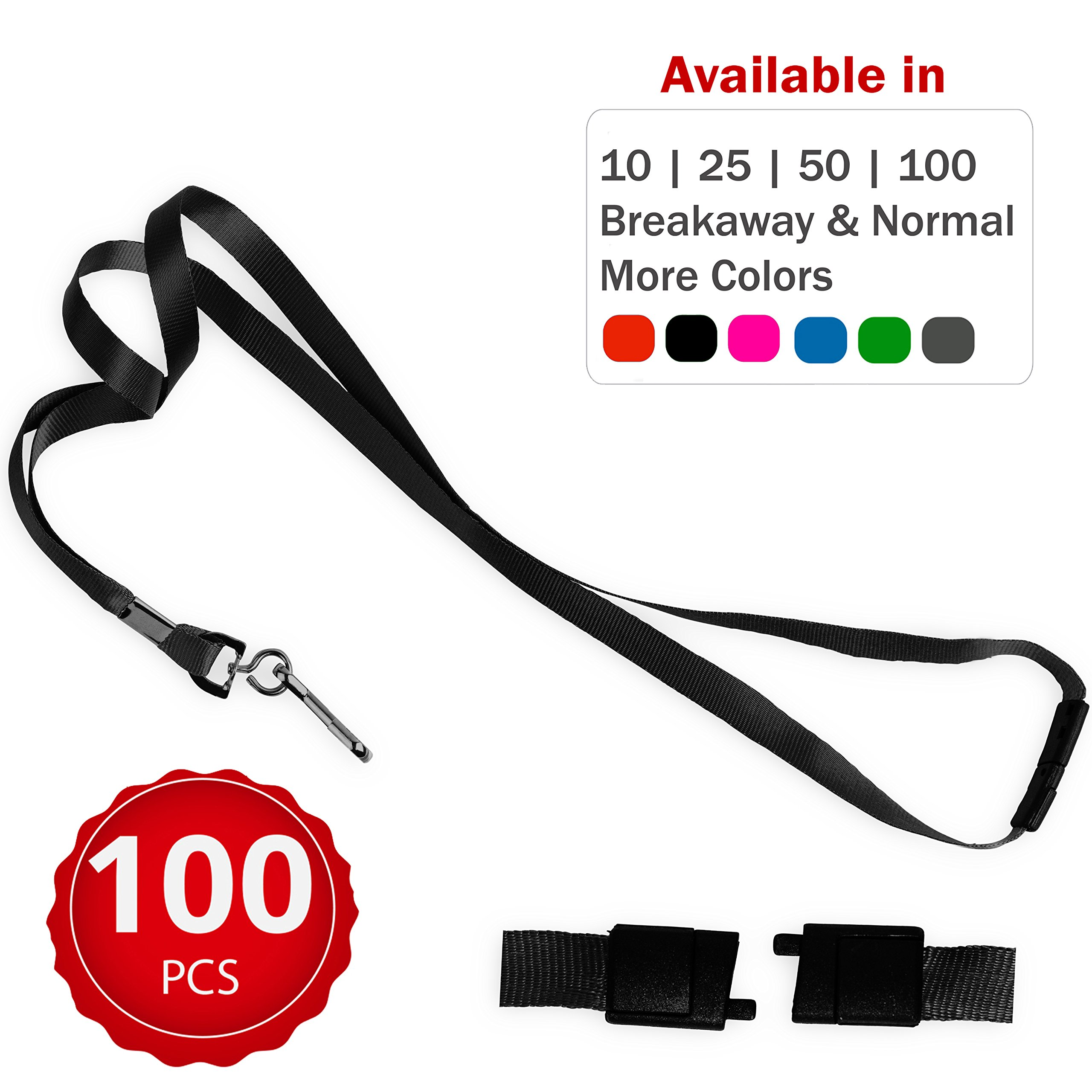 Durably Woven Lanyards with Safety Breakaway ~Premium Quality, Smoothly Finished for Skin-Friendly Comfort~ for Moms, Teachers, Tours, Events, Cruises & More (100 Pack, Black) by Stationery King by STATIONERY KING