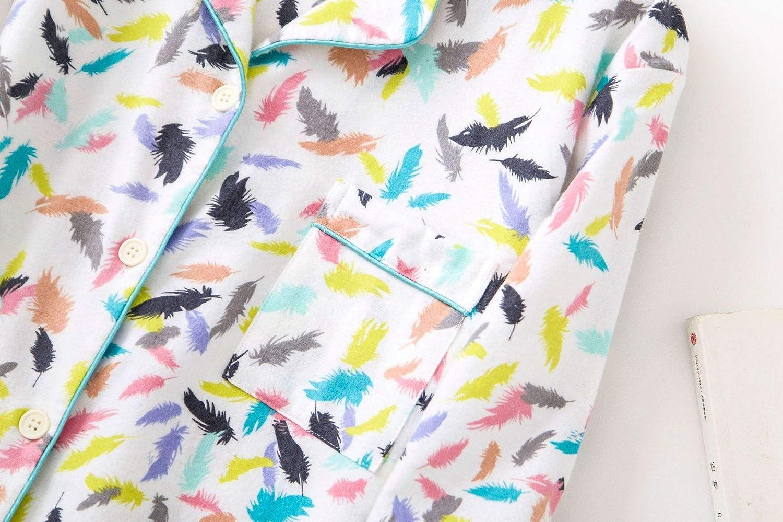 Damen Baumwolle Nachthemd Langarm Pyjama Damen kn/öpfe Nachtw/äsche