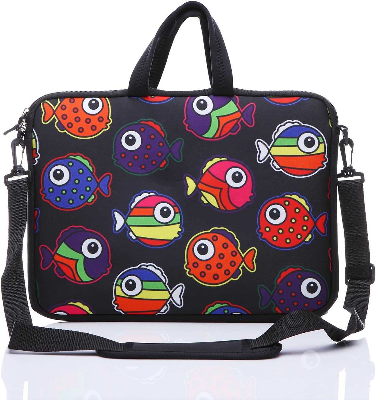 """YIDA 10-Inch Laptop Shoulder Sleeve Case and Tablet Bag for Most 9.7"""" 10"""" 10.1"""" 10.2"""" Ipad/Notebook/eBook/Readers (Black red Fish)"""