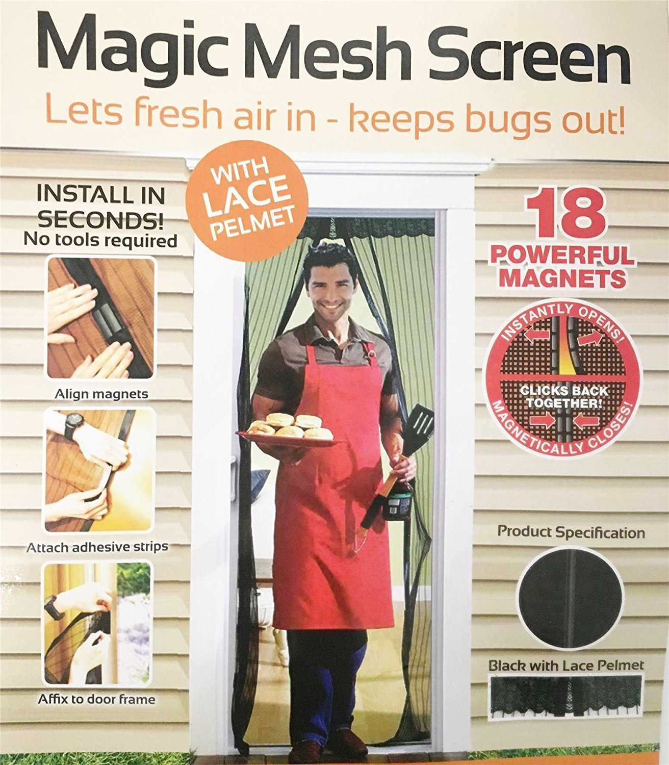 Magic Mesh White With Pelmet Poly Curtain Door Magnetic Snap Hands Free Fly Mosquito Bug Insect Screen Concept4u