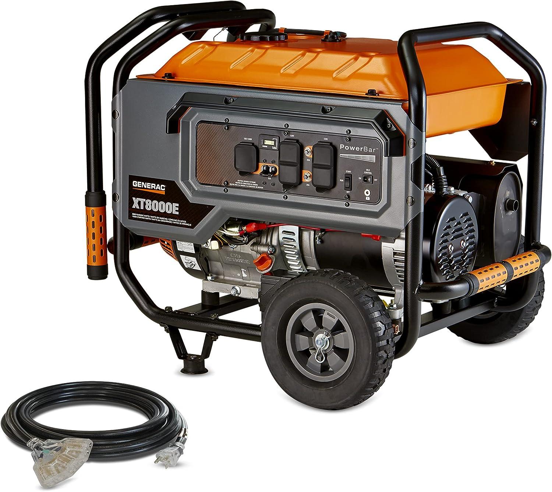 Generac G0064331 6433 XT8000E Watt, 420CC 49 ST/CSA Portable Generator, Orange, Black