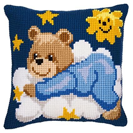 Amazon.com: Vervaco Blue Teddy Cushion Cross Stitch Kit