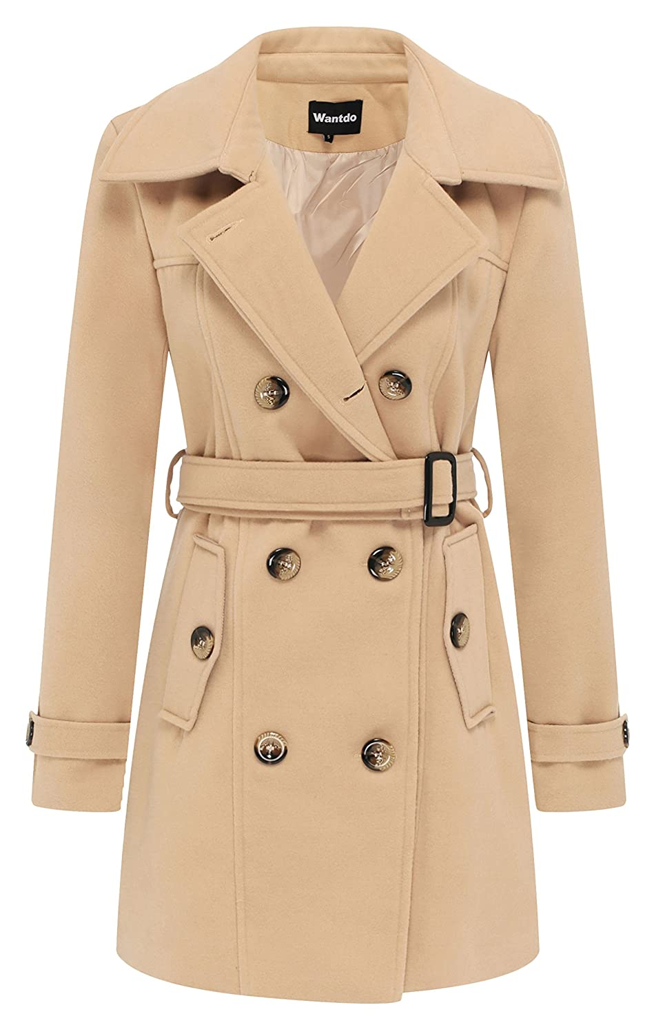 Wantdo Women's Double Breasted Pea Coat with Belt WT3357