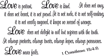 Amazoncom 1 Corinthians 134 8 Bible Verse Wall Decal Love