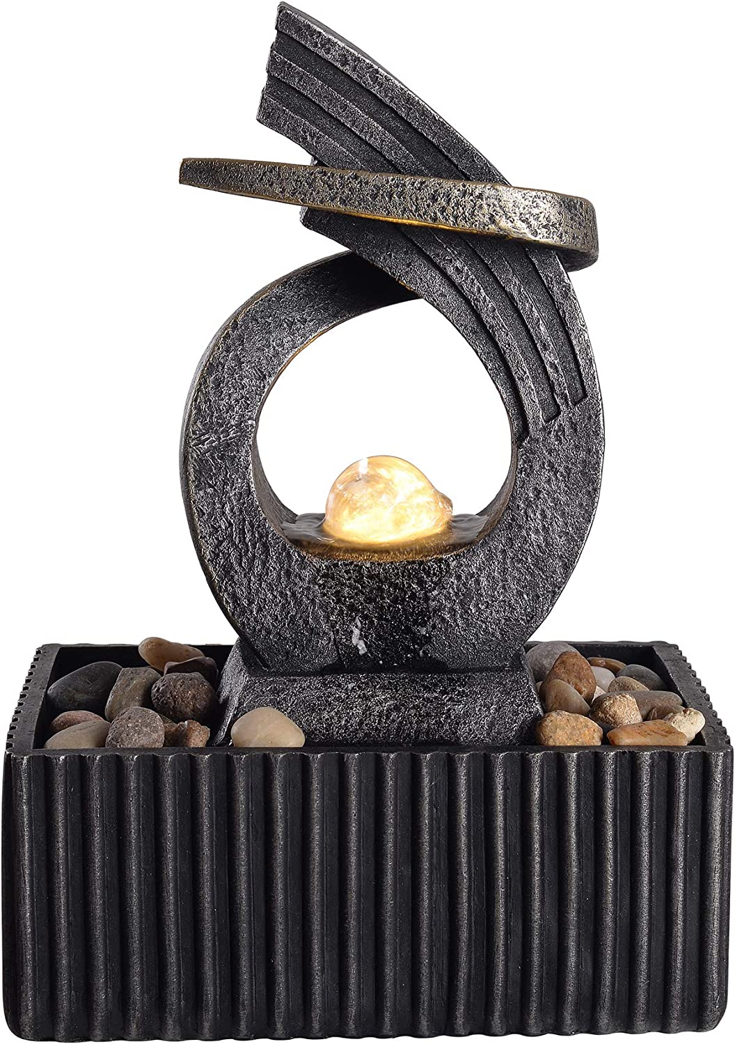 """Peaktop PT-TF0002 Indoor and Outdoor Feng Shui Water Zen Décor Relaxation Desktop and Tabletop Fountain with LED Light for Bedroom Living Room Home Office, 8.3"""" Height, Charcoal/Bronze"""