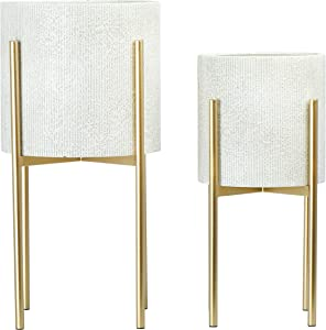 Metal Planters with Stand, Set of 2