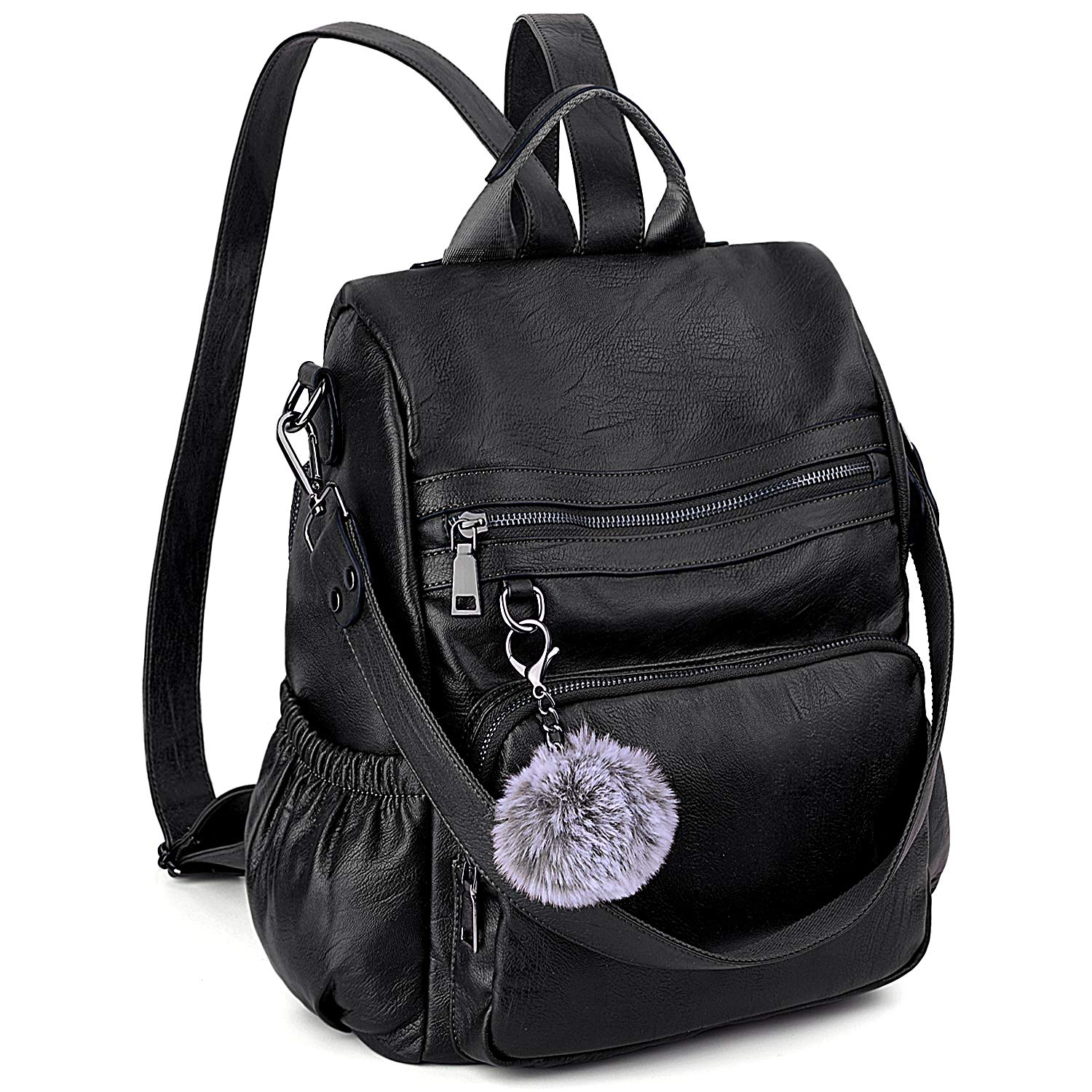 Anti-Theft Convertible Backpack Purse for Women UTO 3 Ways Rucksack PU Leather Shoulder Bag Black