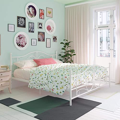 DHP Bombay Metal, King Frame, White Beds,