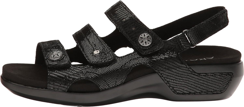 Aravon Womens Power Comfort Three Strap Heeled Sandal