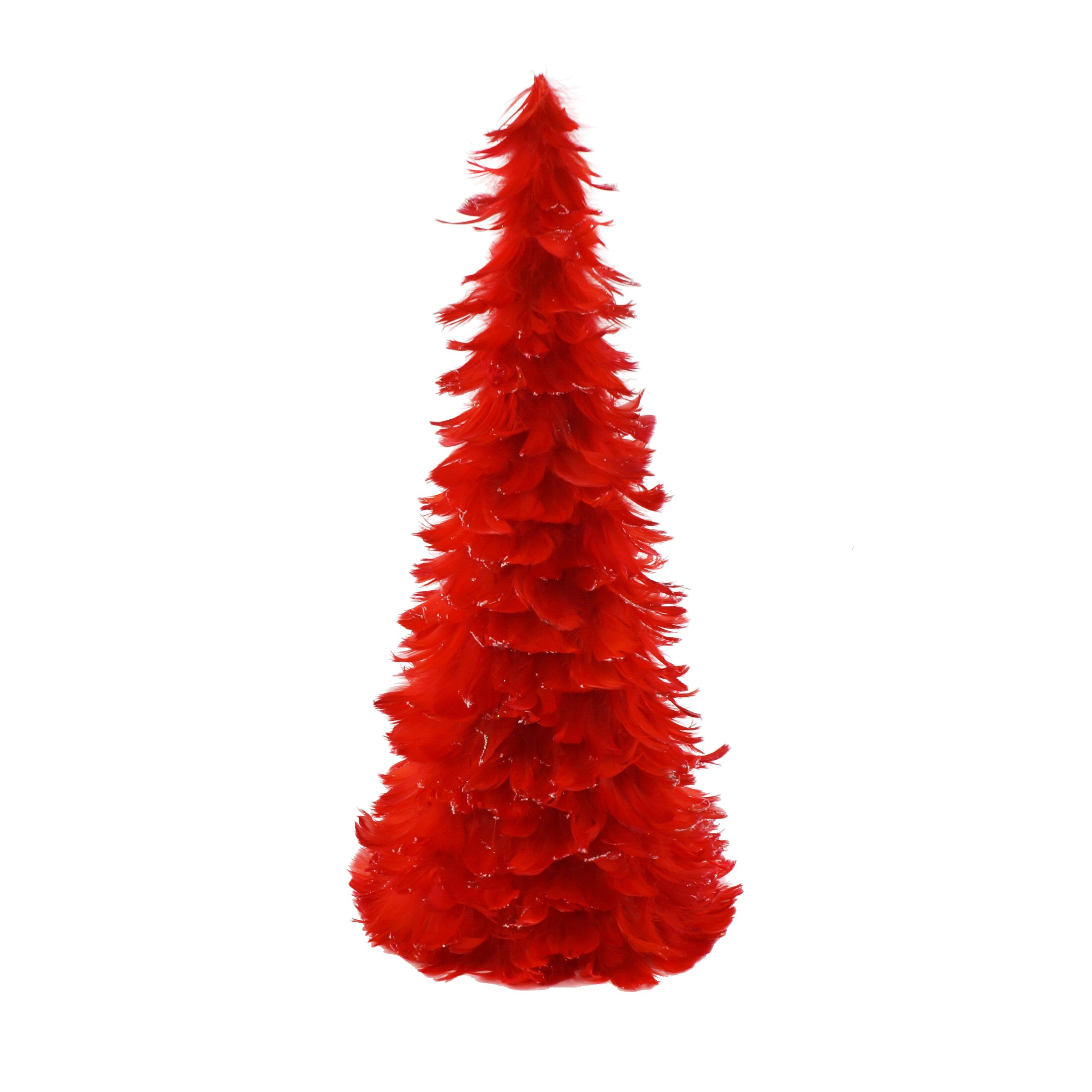 Zucker Tipped Coquille Feather Christmas Tree - Red/Opal Lurex - 24''