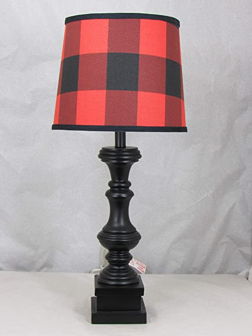 Black Spindle Table Lamp With Red And Black Buffalo Plaid Shade