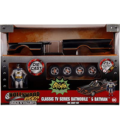"Jada Toys DC Comics Batman Classic TV Series Batmobile DIE-CAST Car Model Kit, 1: 24 Scale Vehicle & 2.75"" Collectible Metal Figurine, Build N' Collect, Black: Toys & Games"