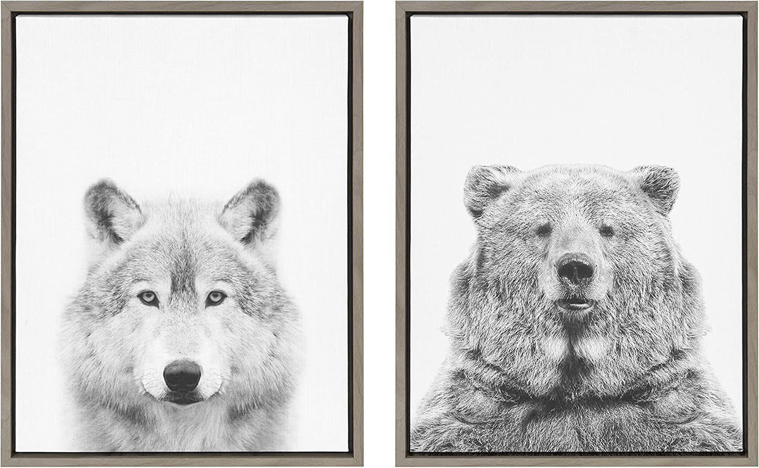 Kate and Laurel Sylvie Wolf and Bear Framed Canvas Wall Art Set by Simon Te of Tai Prints, 18x24 Gray, Animal and Nature Home Decor